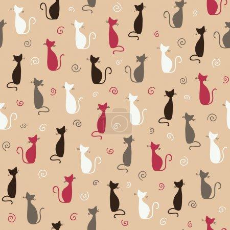 Illustration pour Motif de chats rose élégant. illustration vectorielle - image libre de droit