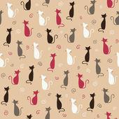 Stylish pink cats pattern Vector illustration