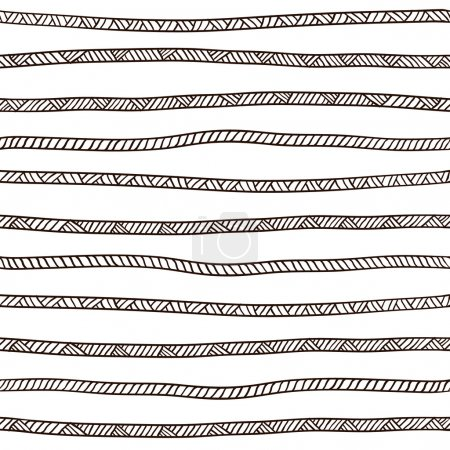 Illustration for Seamless rope pattern. Black and white. Vector illustration - Royalty Free Image