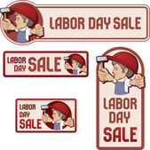 Cartoon style worker in bib overall and hard hat keep flag in rased hand flag with Labor Day device vintage style in dull color No fonts were used