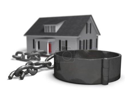 Photo pour Maison avec une chaîne brisée et Manille. - image libre de droit