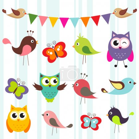Illustration for Set of cute birds and butterflies - Royalty Free Image