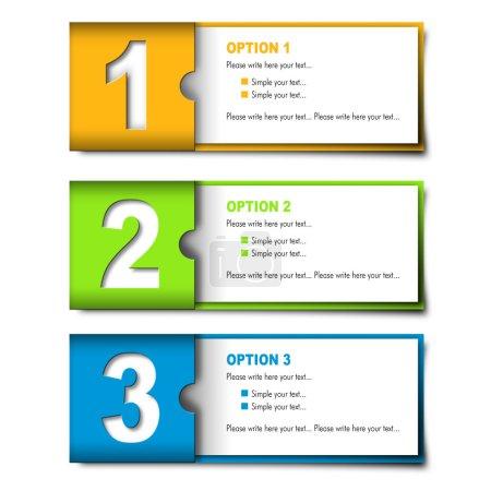 Illustration pour 3 morceaux de différentes couleurs, cartes optionnelles - image libre de droit