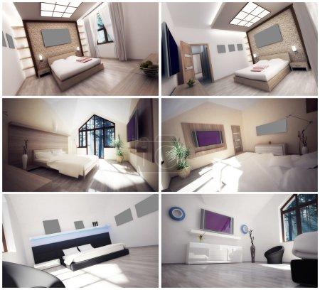 Photo pour Intérieur 3D de trois chambres - image libre de droit