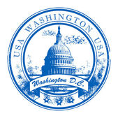 Grunge rubber stamp with Capitol Building and the word Washington USA inside