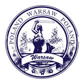Grunge rubber stamp with Warsaw Mermaid and the word Warsaw Poland inside