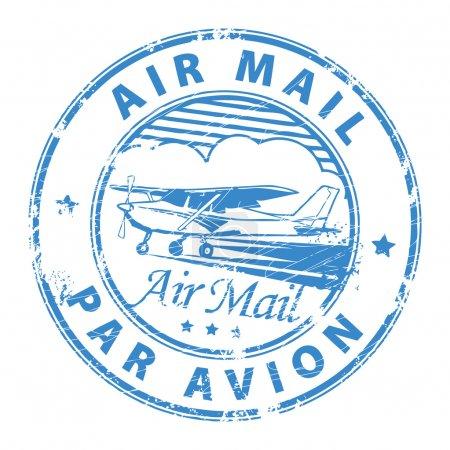 Illustration pour Grunge tampon caoutchouc avec avion et la poste aérienne texte, par avion écrit à l'intérieur du tampon - image libre de droit