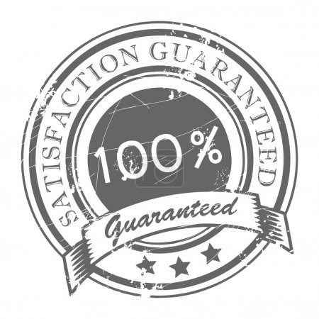 Illustration for Abstract grunge rubber stamp with small stars and the word Satisfaction Guaranteed written inside the stamp - Royalty Free Image
