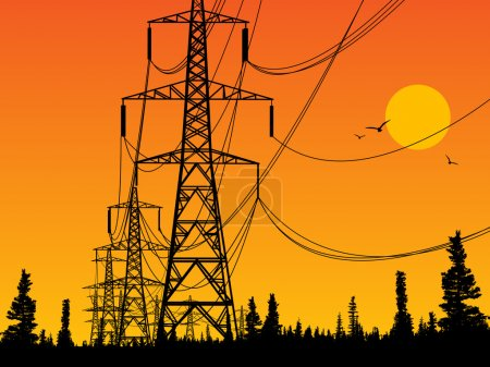 Illustration for Electric power lines and sunrise - Royalty Free Image