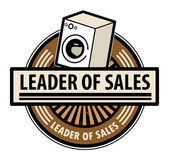 Sticker with the washing machine and word Leader of sales written inside