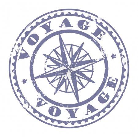 Illustration pour Grunge tampon caoutchouc avec boussole et le texte Voyage écrit à l'intérieur du tampon - image libre de droit