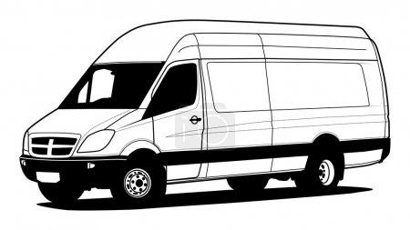 Illustration for Delivery van hand draw illustration - Royalty Free Image