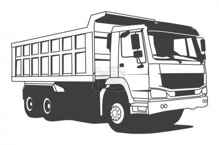 Dump truck hand draw illustration...