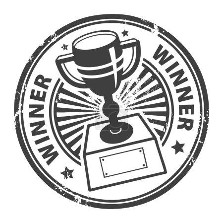 Illustration pour Grunge tampon en caoutchouc avec tasse gagnante et le mot gagnant écrit à l'intérieur - image libre de droit