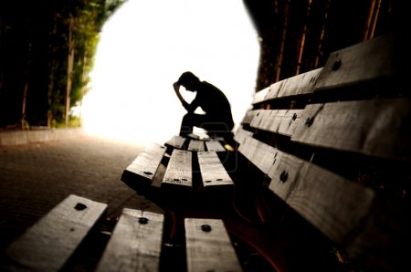 Photo for Depression, teen depression, pain, suffering, tunnel - Royalty Free Image