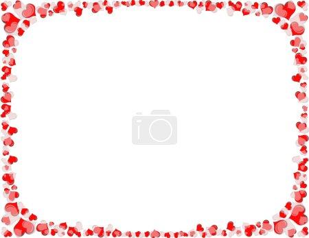 Photo pour Une bordure de coeurs rouges et blancs. Fixé au format lettre 8,5 x 11 pouces papier - image libre de droit