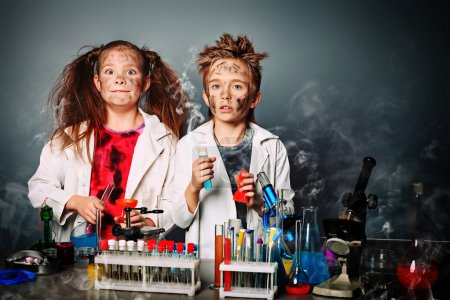 Photo for Two children making science experiments. Education. - Royalty Free Image