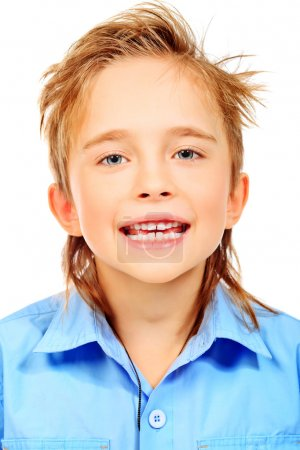 Photo for Portrait of a 8 year boy. Isolated over white background. - Royalty Free Image