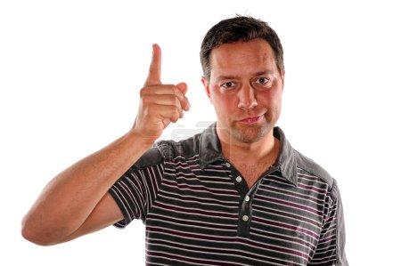Photo pour Un jeune déçu secouant son doigt de geste je vous l'ai dit - image libre de droit