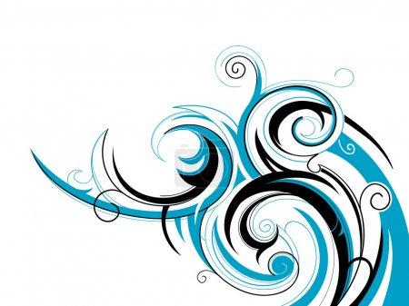 Illustration pour Tourbillons décoratifs en forme de vague d'eau - image libre de droit