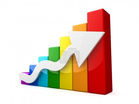 Multicolored 3D graph with white arrow