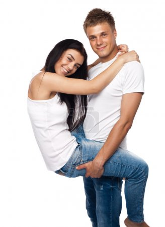 Happy young couple in casual clothing