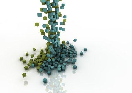 Foto de Colorida cascada de caída píxeles - Imagen libre de derechos