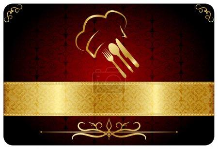 Illustration pour Couverture de menu restaurant. Fond vectoriel. Vieux motifs turcs . - image libre de droit