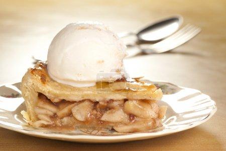 Freshly baked apple pie with vanilla toffee ice cream