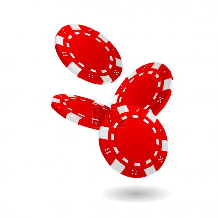 Falling Red Poker Chips