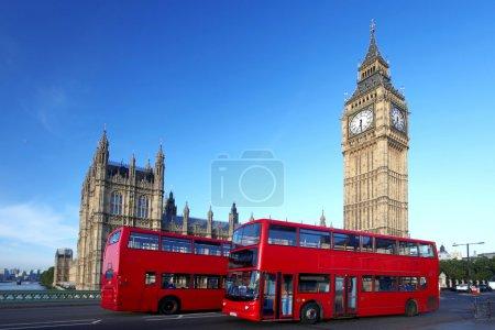 Photo pour Big ben avec double decker, Londres, Royaume-Uni - image libre de droit