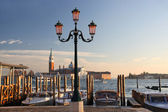 Gondolas in the evening, Venice, Italy