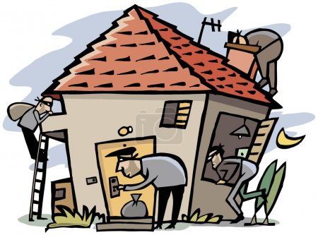 Cartoon scenes of 4 thieves break into house...