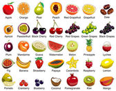 This ollection includes 35 icons of colorful fruits