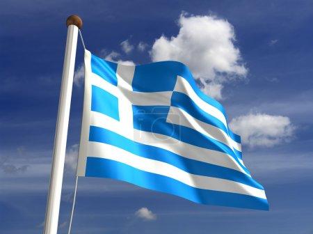 Photo pour Drapeau de la Grèce 3D (avec un tracé de détourage) - image libre de droit