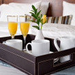 Breakfast tray on a bed...
