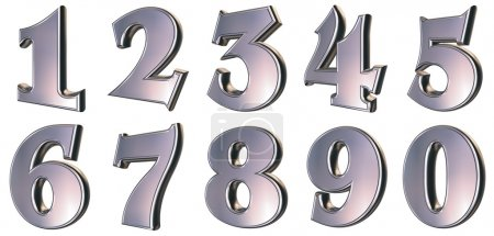 Photo for 3d rendered metallic numbers - Royalty Free Image