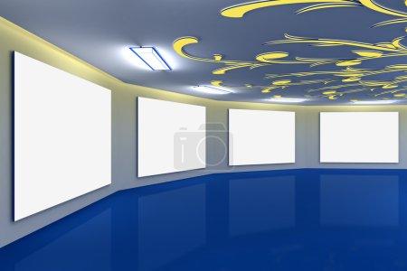 Photo pour Galerie bleue virtuelle moderne avec design floral au plafond - image libre de droit
