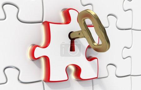 Photo pour Des puzzles de rendu 3D - un rouge ouvert avec une clé d'or - effet - concept de solution de lumière - image libre de droit