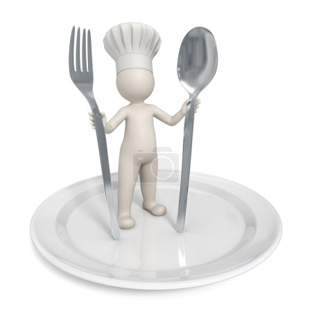 3d Chef - Restaurant symbol with saucer