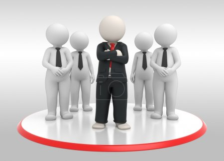 Business team with leader - 3d