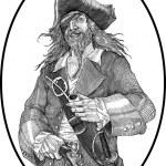 Black and white vector illustration of smiling pir...