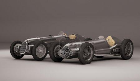 Antique black racing cars