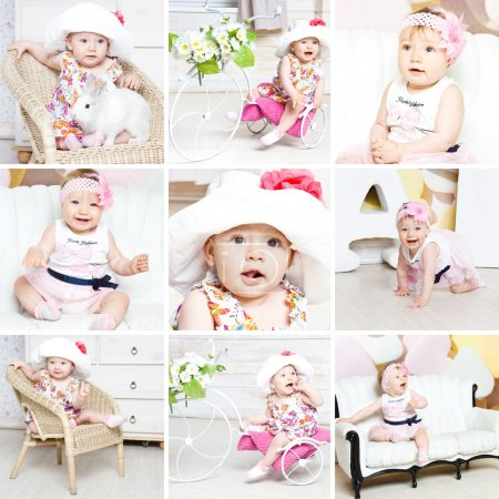 Photo for 9 hight quality pictures of beautiful baby girl, baby with rabbit, baby collage, nine picture baby collage, studio photography of smiling toddler with baby rabbit - Royalty Free Image