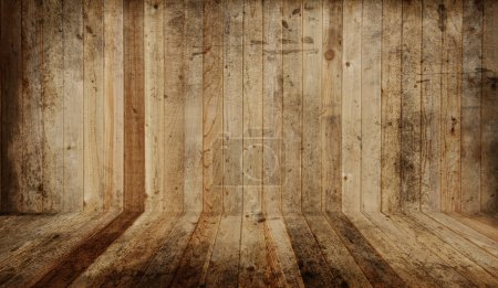 Photo for Western cedar plank floor and wall. Add your own objects. - Royalty Free Image