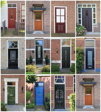 Photo for Collage of Dutch front doors. - Royalty Free Image