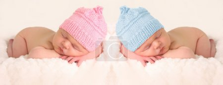 Photo for Newborn babies in pink and girl knitted hats. - Royalty Free Image