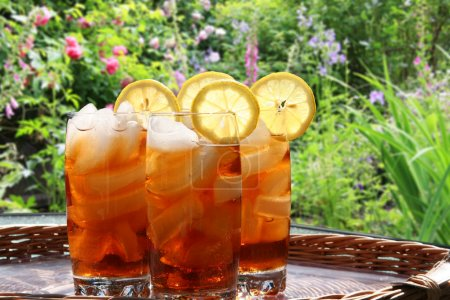 Photo for Summer lemon ice tea in the garden. - Royalty Free Image