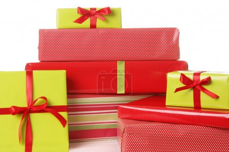 Photo for Christmas presents in red and green. - Royalty Free Image