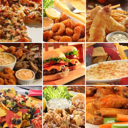 Photo for Collage of pub food including cheese burgers, wings, nachos, fries, pizza, ribs, deep fried prawns and calamari. - Royalty Free Image